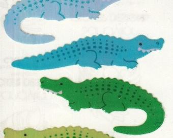 ON SALE Vintage Sandylion Pearl Finish Alligator Stickers - 80's Opal Pearly MOP Rainbow Crocodile