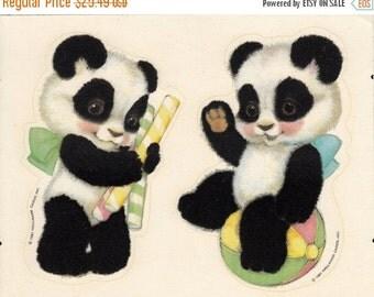 ON SALE Rare Vintage Hallmark Adorable Fuzzy Panda Bears Sticker Sheet - 80's Hard to Find - Retro Beach Ball Bear Bow Peppermint Stick