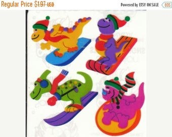 SALE Dinosaurs Skiiing Vintage Sandylion Pearl Finish Stickers - 80's Opal Slalom