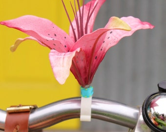 Hibiscus  Lily  - Clip on silk flower for bikes