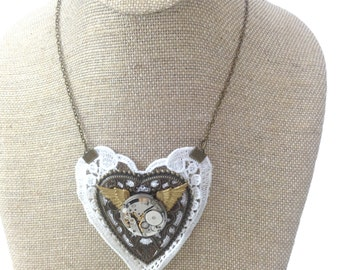 Steampunk lace heart wing collar necklace