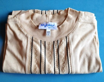 BYBLOS - 1980s T-Shirt - Beige with Broderies - Made in Italy - Sz. EU 48/US L