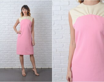 Vintage 60s Cream + Pink Dress Color Block Shift Mod Medium M 9141