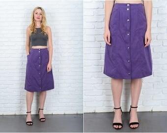 Vintage 80s 90s Purple Retro Skirt High Waist A Line Small Medium S M 9440