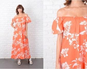Vintage 70s Maxi Dress White Hawaiian A Line Hippie Boho Tropical M Off Shoulder 9445