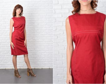 Vintage 70s Red Dress Sleeveless Sheath Knee length Medium M 9466