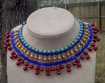 Egyptian Bollywood Turquoise, Pearl, and Glass Necklace