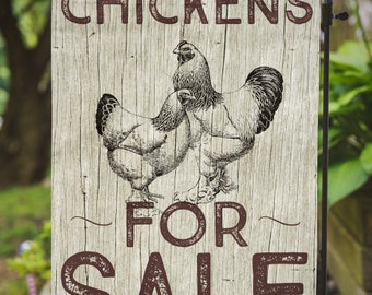 Chickens for Sale |  Farmhouse Decor | House Flag or Flag Lawn Decor | Garden or Large House Flag | Size via Dropdown | Convo for Custom
