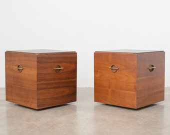 Pair Mid Century Lane Rolling Side / End Tables