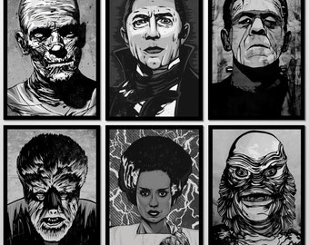 Universal Monster Set - Black and White - Limited Edition