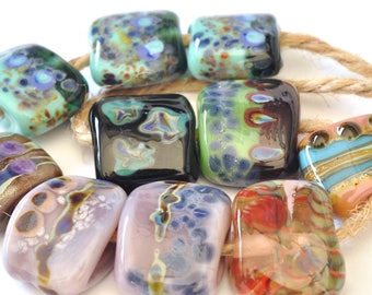 Free Form  (Ten Beads) - Handmade Lampwork Glass Beads - Free Form Handmade Glass Beads - SRA