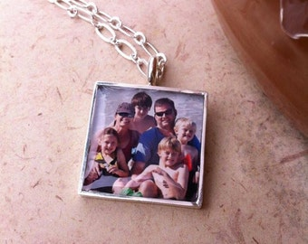 "Photo Necklace, Photo Pendant on 18"" Chain, Top Seller, Photo Jewelry"