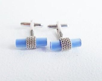 Vintage Cuff Link Set Silver Blue Cuff Links Braided Silver Cuff Links Blue Lucite Cuff Links Silver Blue Toggle Men's Cuff Link Set