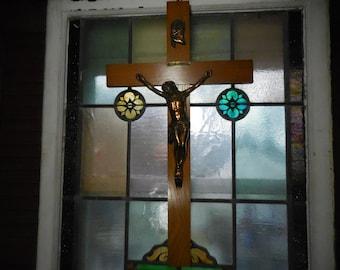 Large Oak and Brass Crucifix