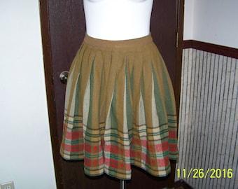 Vintage Full Pleated Wool Skirt Multi Shades of Green