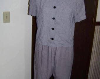1990's Grey and Black 2 Piece Ladies Suit