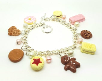 Cookie Charm Bracelet.  Polymer clay.