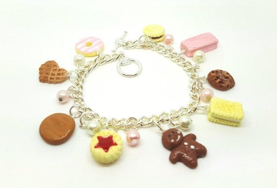 Cookie Charm Bracelet.  Polymer clay.