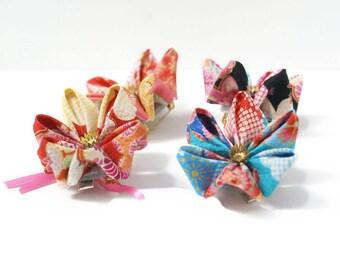 Japanese Kimono Print Hair Clip - Kawaii Kanzashi Hair Flower - Flower Brooch - Hair Accessory - Japanese Hair Flower - Folded Fabric Flower