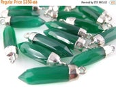 45% off Liquidation SALE Green Onyx Petite Spike Pendant Charm with Silver Electroplated cap (S28-B1-15)