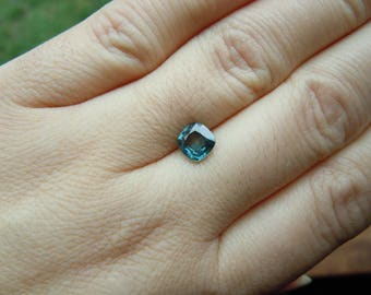 """Genuine Montana Sapphire """"Stormy Caribbean"""" Teal Blue 1.30 carat Shallow Cushion cut 6.4 mm Loose Gemstone for Jewelry"""