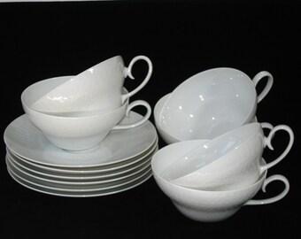 Rosenthal Romance Romanze All White Set 6 Cups and Saucers Bjorn Wiinblad Studio Line Germany