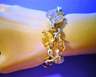 LISNER BRACELET not Signed THERMoSET LEAF Rhinestone Purple Lavender Yellow Jelly bean molded plastic Vintage rs Jewelry