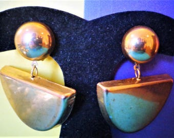 "90's EARRINGS 2"" plus  TALL Dangle Brushed Finish Gold Tone Vintage Clip Jewelry"