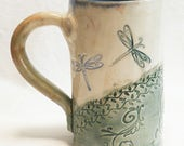 ceramic dragonfly coffee mug 16oz  stoneware 16D030