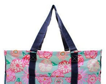 Large Monogrammed Floral Utility Tote -Beach Tote -Teacher Tote -Pool bag -Beach Bag - Sports Utility tote- Other patterns available