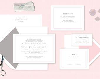 Mint Copper Formal Wedding Invitations Spring Wedding