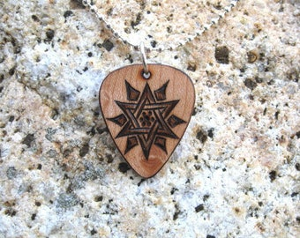 6 Pointed Star Guitar Pick Pyrography Pendant