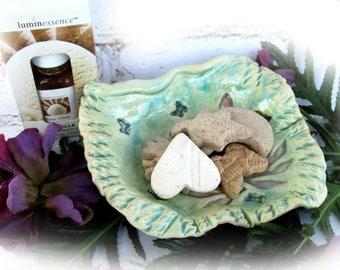 Aromatherapy bowl clay shapes - pottery essential oil diffuser - Handmade Ceramic dish - Essential Oils - Spa Decor - Yoga Accessory- # 48