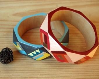 Hand painted wooden bracelet,geometric wood bracelet,red wood bangle