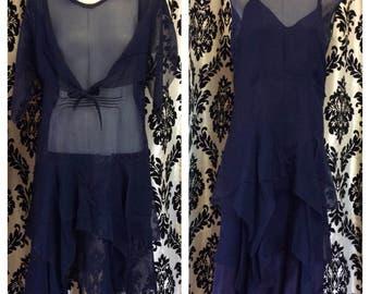 1920's Silk Navy Blue Waterfall layered Dropwaist Dress