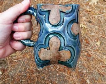 Blue Clover Mug - Ceramic Coffee Mug, Tea Cup