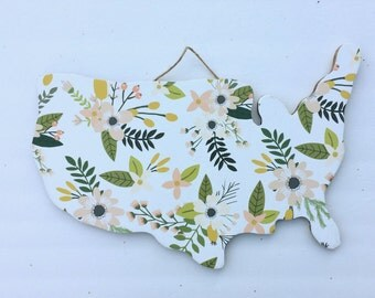 Wood USA map sign handcut floral