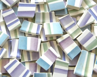 Mosaic Broken China Tiles - PASTEL Stripes - Recycled Plates - 100 Tiles