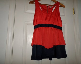 Vintage Couture Blouse Top  Racer Back Lucca Couture  Sleeveless Red Blue Trim Zipper Back