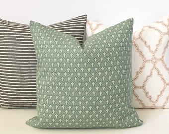 Double sided, Aqua and cream heart arrow ikat geometric decorative pillow cover, accent pillow, throw pillow