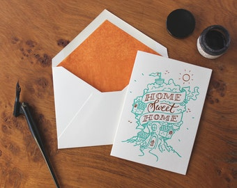 Home Sweet Home Letterpress and Foil Greetings Card