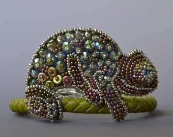 SILVER Marty The Chameleon bead embroidery kit