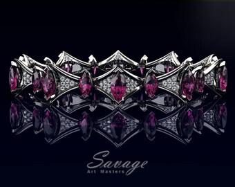 Savage 14K White Gold 15.0 Ct Marquise Pink Sapphire Diamond Art Nouveau Bridal Bracelet R438B-14KWGDPS