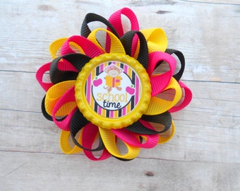 School Time monkey loopy flower hair bow