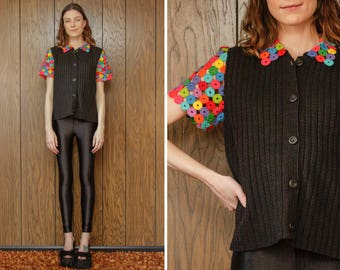 Vintage 90s Michael Simon Rainbow Kitsch Funky Avant Guarde Multi Color Black Circle Crochet Knit Button Up Cardigan Sweater Blouse Top S M