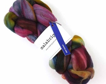 Malabrigo Spinning Fiber, pure merino, hand dyed in color Diana, #886, red, green, chestnut
