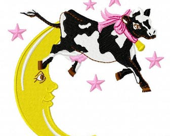 Cow Over Moon Machine Embroidery Design - Instant Download