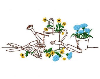 Garden Tools and Flowers Embroidery Design - Instant Download