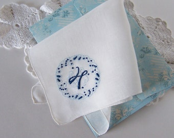 Bride's Handkerchief Monogrammed H, Vintage Something Blue Wedding Hanky, Something Old Bridal Shower Gift with Complimentary Gift Envelope