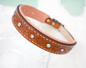 Large Leather Dog Collar - Custom Lined Basketweave with and Bling, hand-stamped